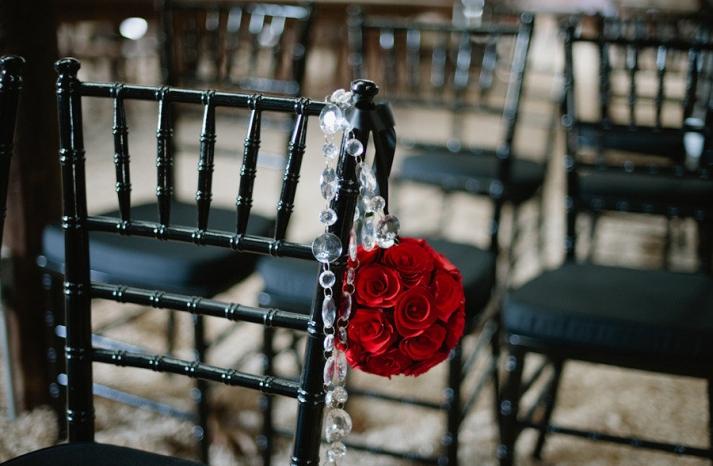 vintage glam wedding ceremony flowers