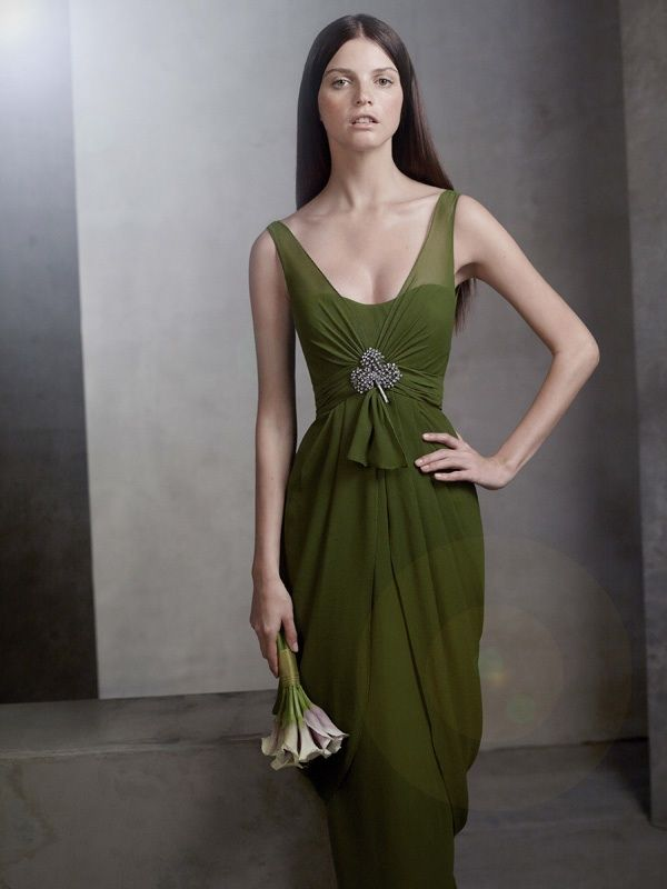white by vera wang 2012 bridesmaid dress olive green draped