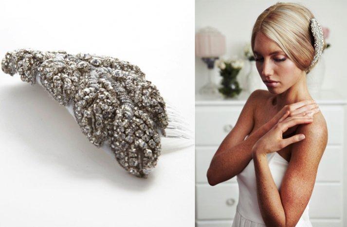 crystal bridal hair accessory simple wedding updo