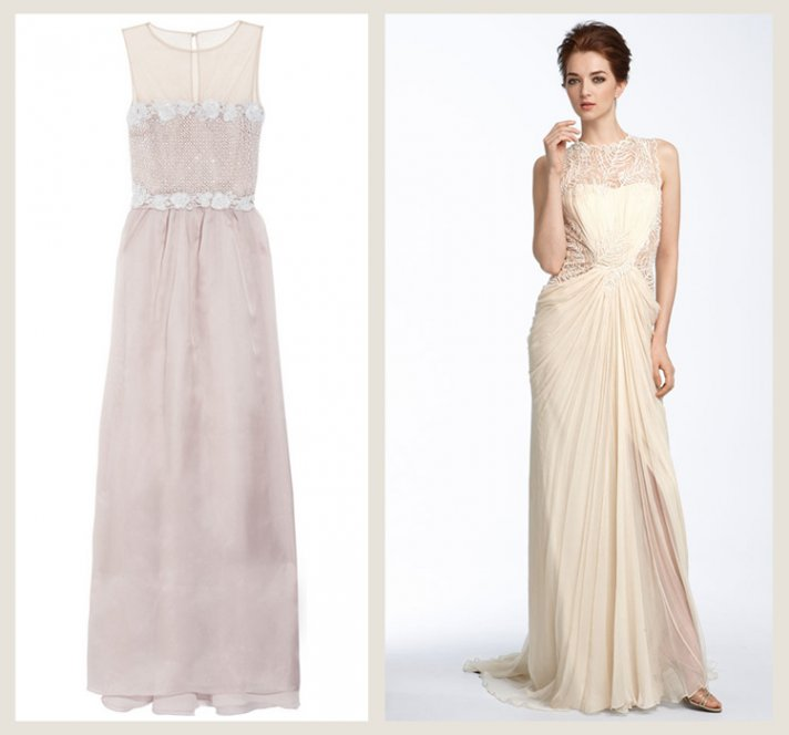 splurge vs save wedding dress 2012 trends illusion neckline