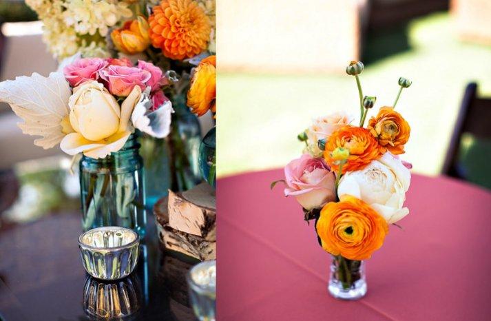 whimsical orange ivory wedding centerpiece