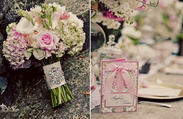 romantic pink wedding flowers bridal bouquet