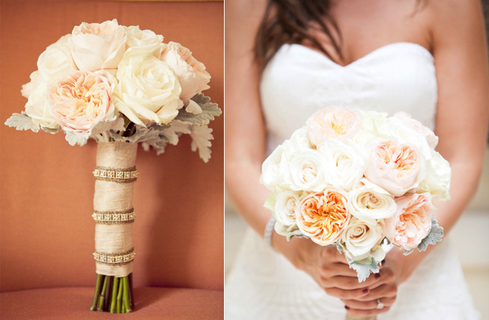 romantic outdoor wedding spring summer ivory peach wedding flowers bridal