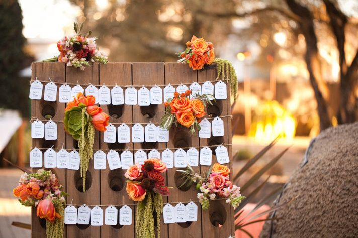 creative wedding reception ideas escort cards display 1