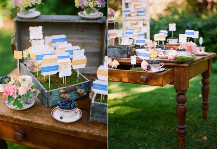 creative wedding reception ideas escort cards tablescape
