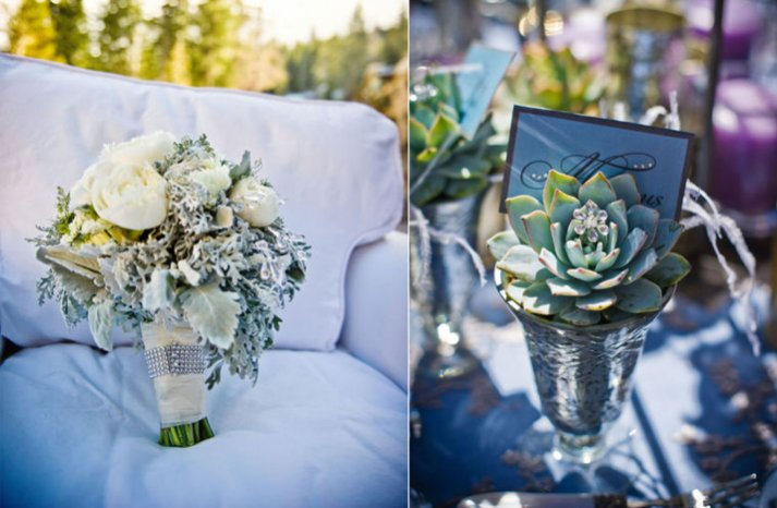 blue silver wedding colors winter wedding flowers bouquet centerpieces