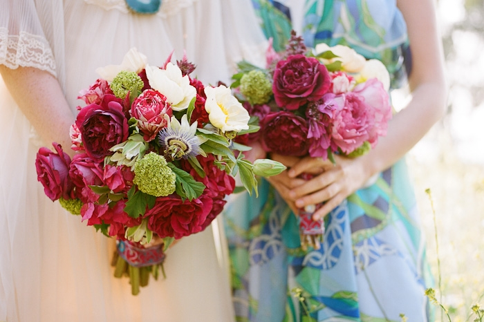 bright bridal bouquet red pink green