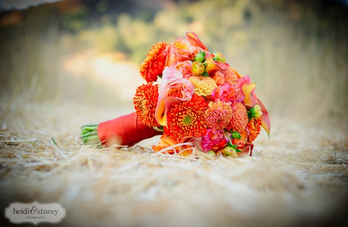 bright orange bridal bouquet spring summer wedding