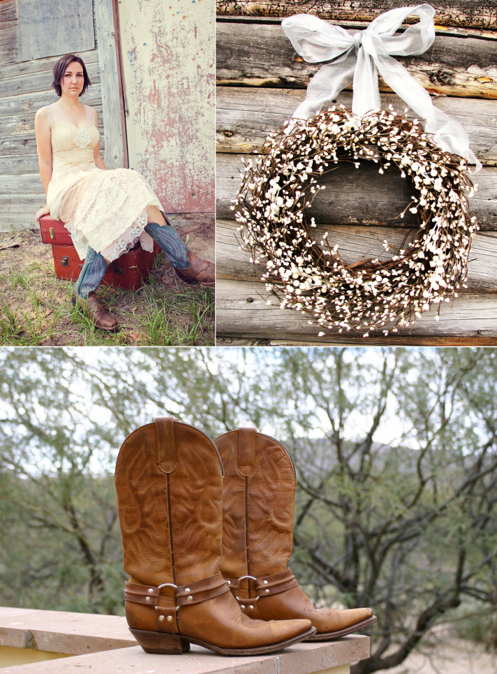 country western themed wedding bride wears cowboy boots rustic reception