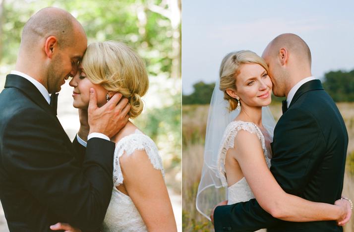 blonde bride chic chignon wedding updo lace wedding dress