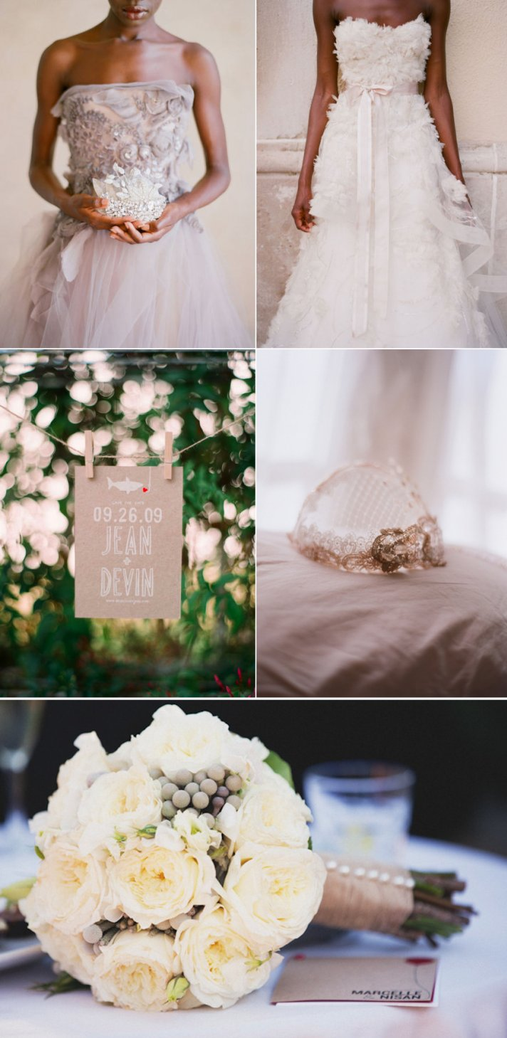 romantic wedding inspiration neutral color palette ivory bridal bouquet tulle wedding dress