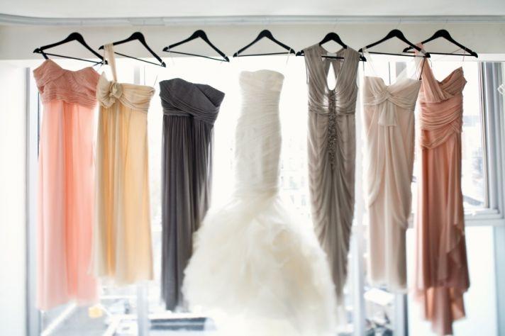 white mermaid wedding dress mix match bridesmaids dresses