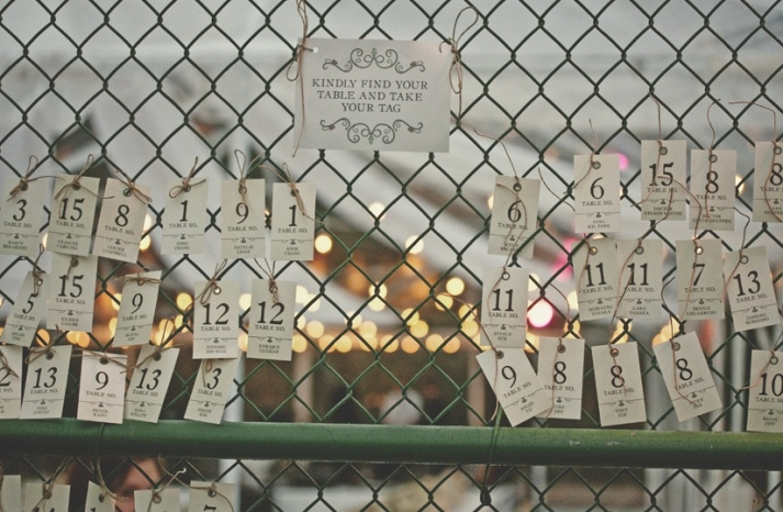 vintage escort cards creative display idea outdoor wedding reception