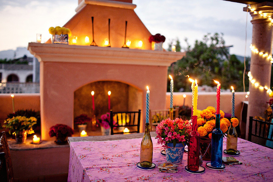 colorful wedding reception southwest theme bright wedding flowers outdoor