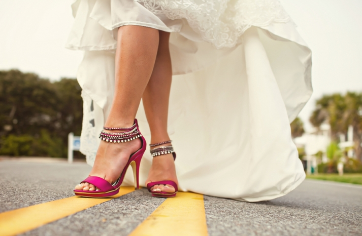 hot pink strappy wedding shoes