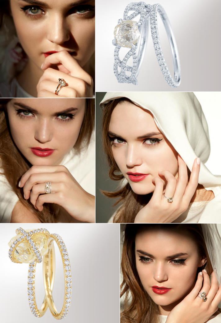 DITR unique engagement rings 2012 wedding jewelry trends rough cut diamonds