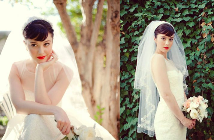 vintage bride romantic bridal veil outdoor wedding