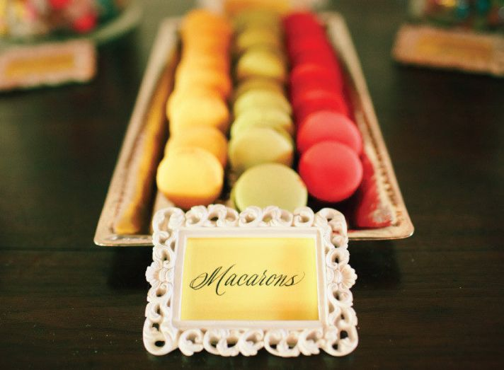 bright macarons for wedding reception cake alternative