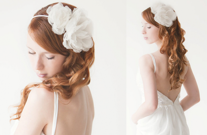 romantic bridal headband with ivory silk flower  full carousel - Gelin Tac� | Gelin Ba�� Aksesuarlar� ~