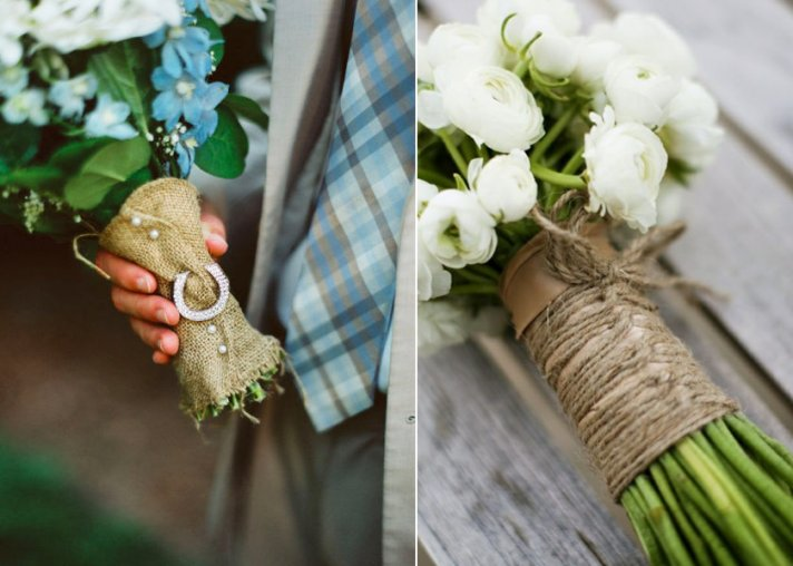 BRIDAL BOUQUETS WRAPPED WITH BURLAP