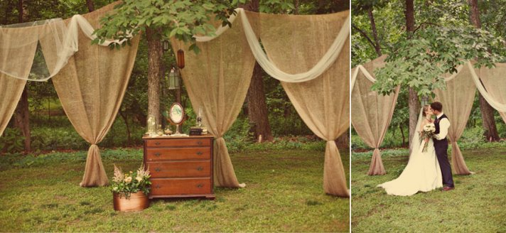 romantic outdoor wedding burlap draping ceremony decor