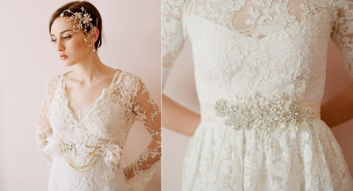 lace wedding dress romantic embellished bridal sash