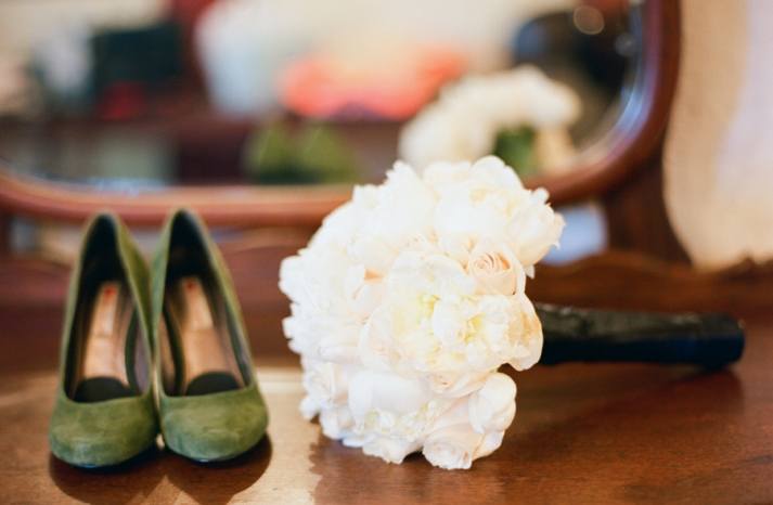 all white bridal bouquet green wedding shoes