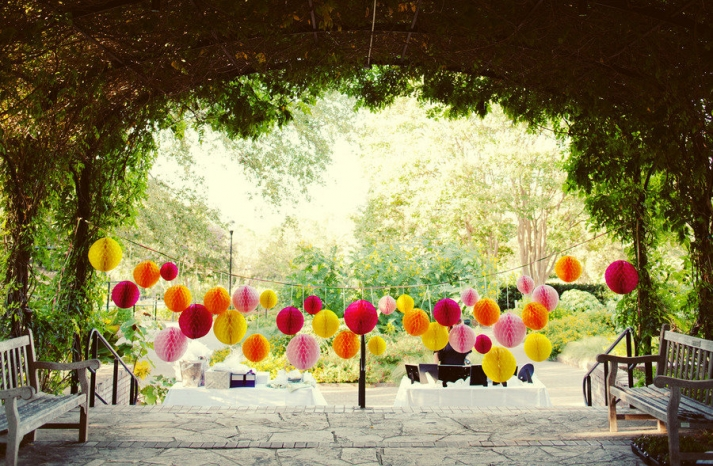 whimsical outdoor wedding reception decor
