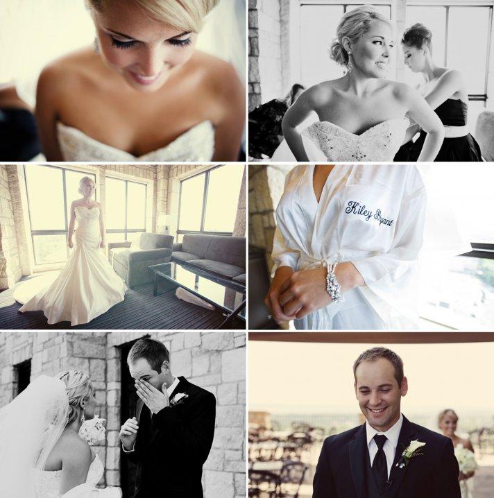 elegant real wedding bride gets ready bride groom first look