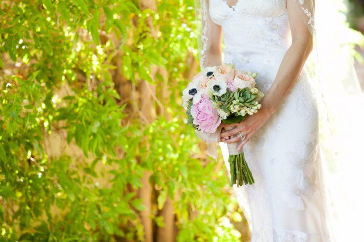 romantic anemone succulent bridal bouquet