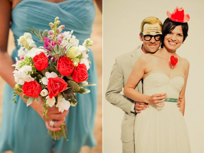 Vibrant coral bridesmaid bouquet and fun photobooth props