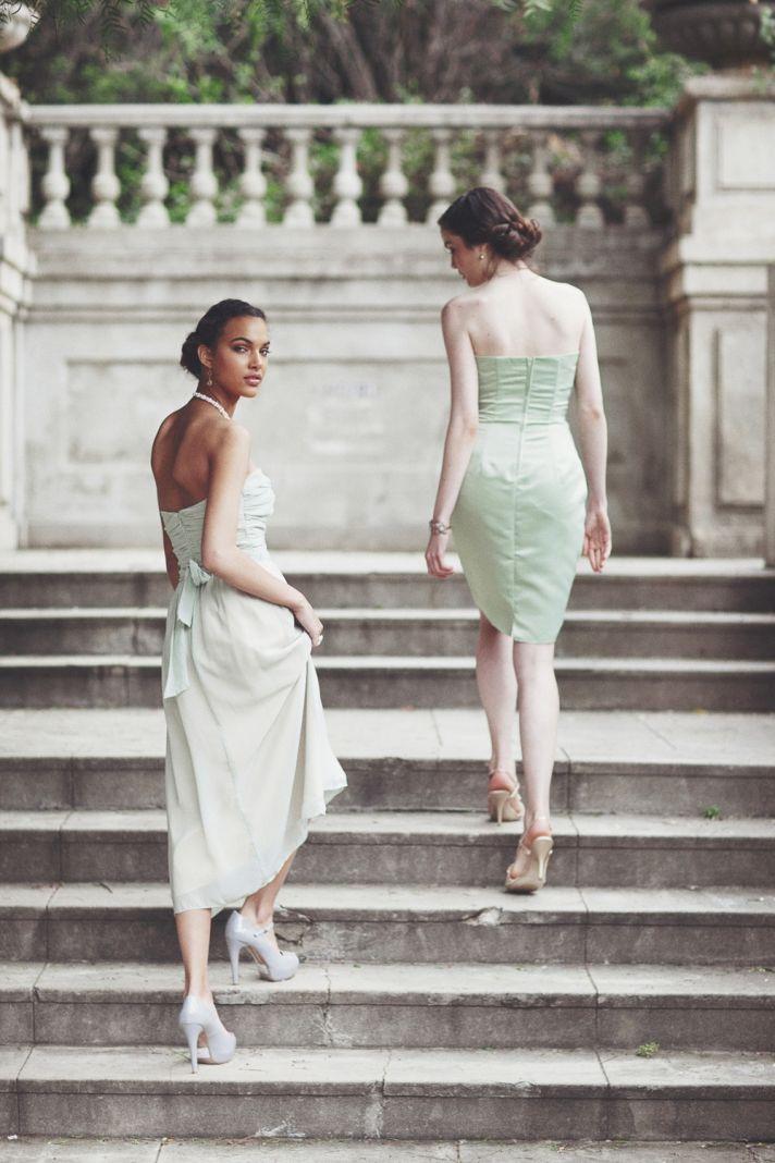 mint green bridesmaids dresses ruche 2012