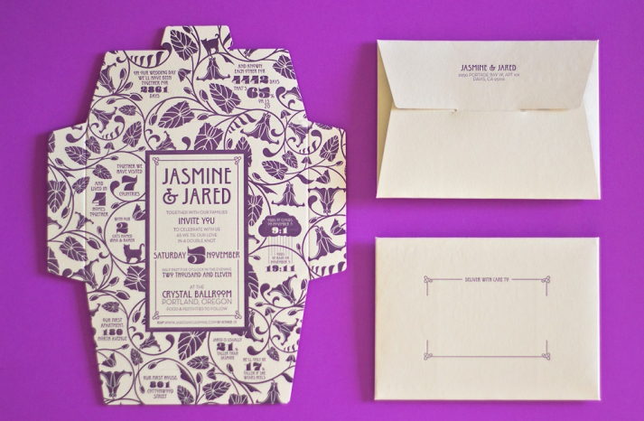 art nouveau letterpress wedding invitation purple ivory