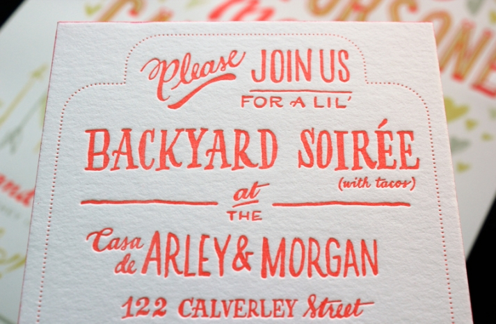 funky neon grey wedding invitations 2