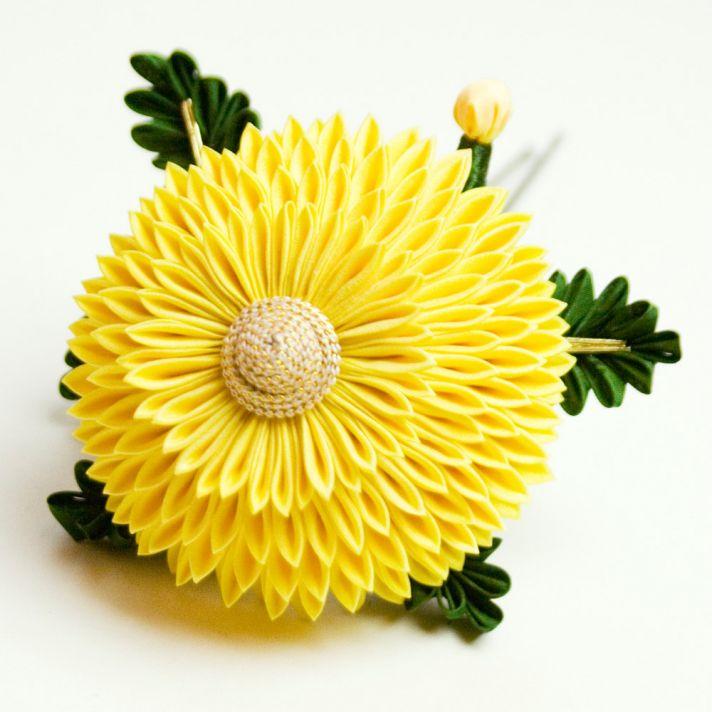 yellow wedding hair flower