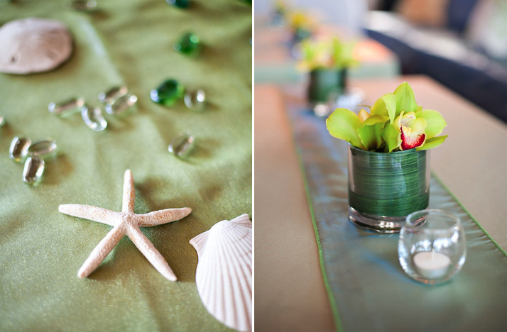 beach wedding green color palette reception centerpieces Credit