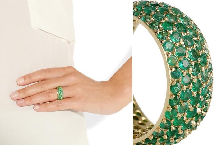 emerald yellow gold wedding band fashion ring