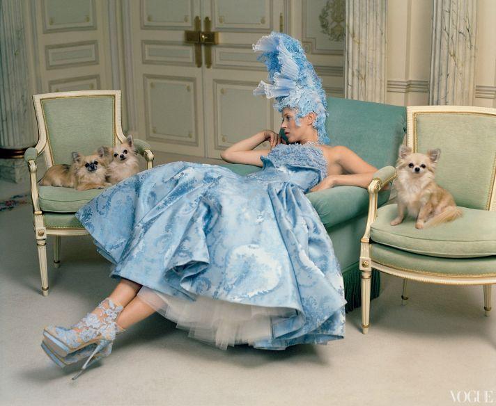 dramatic wedding inspiration kate moss elegant ballroom wedding venue blue wedding dress shoes