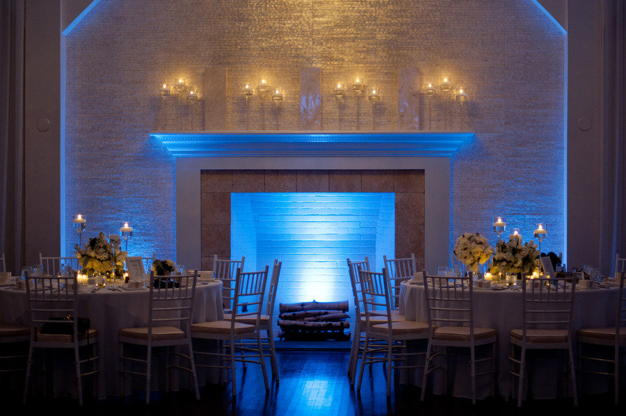 elegant indoor wedding venue blue LED lighting Credit SNAP