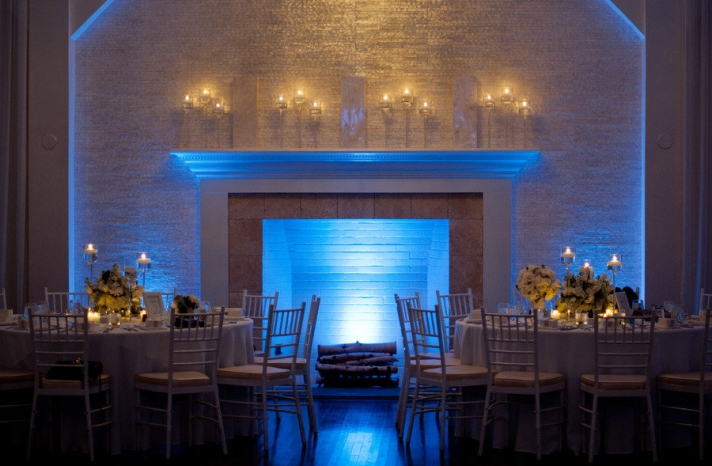 elegant indoor wedding venue blue LED lighting