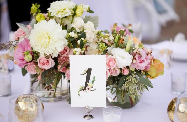 romantic garden wedding centerpieces table numbers