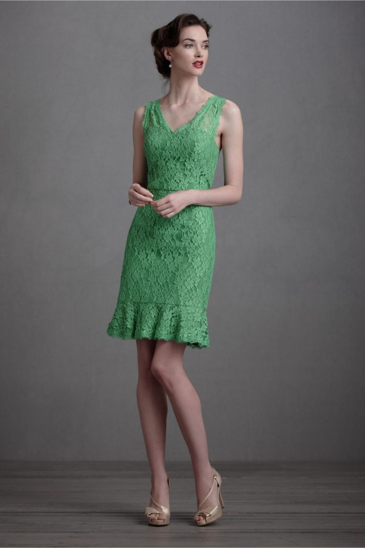 green lace bridesmaid dress BHLDN