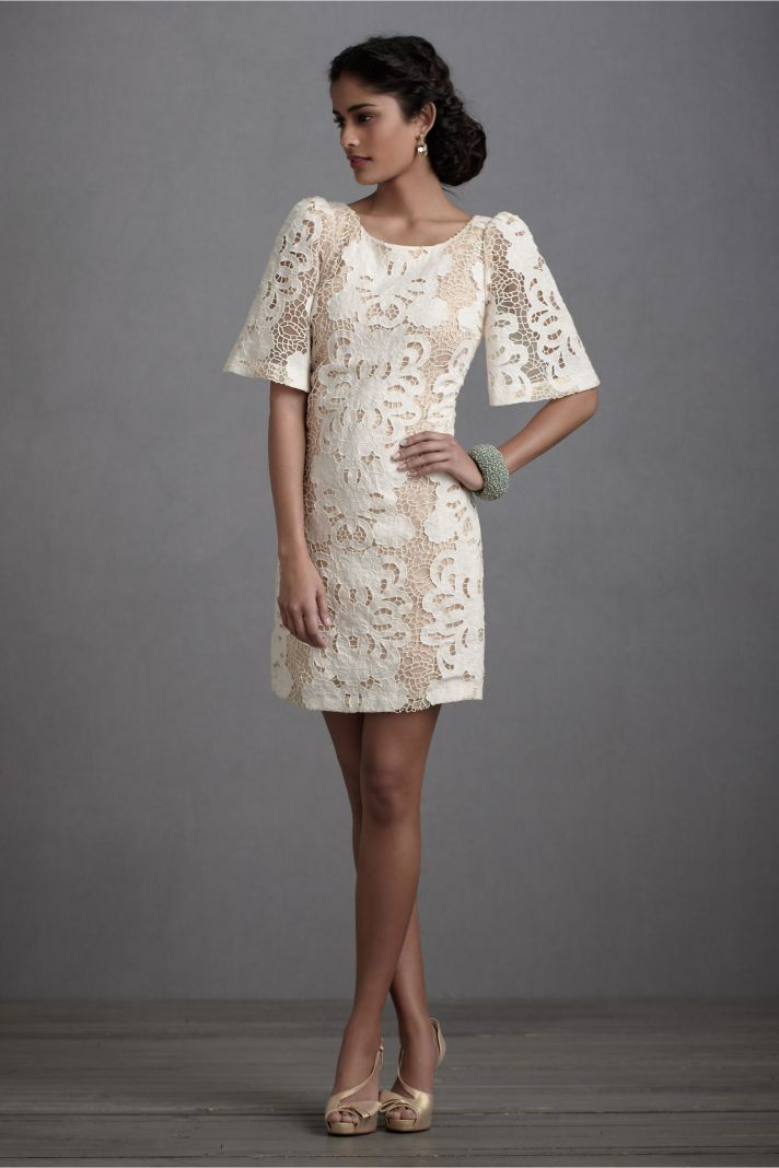 bell sleeve wedding reception dress ivory lace by BHLDN