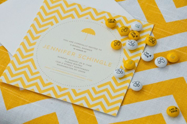 bridal shower wedding invitation yellow white modern