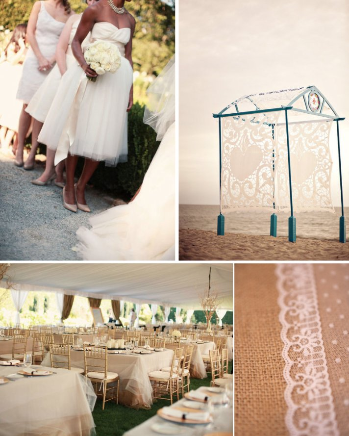 romantic wedding inspiration tulle reception table cloths lace adorned wedding cake outdoor wedding