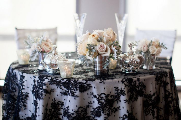 black lace tableclothes romantic real weddings