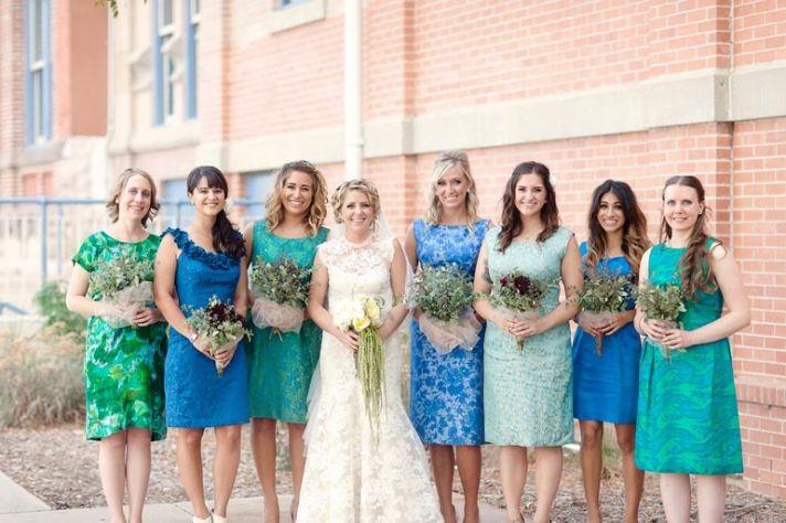 printed bridesmaid dresses blue aqua