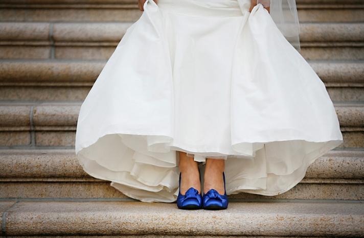 Blue White Modern Asian Wedding Washington DC Bride Shoes