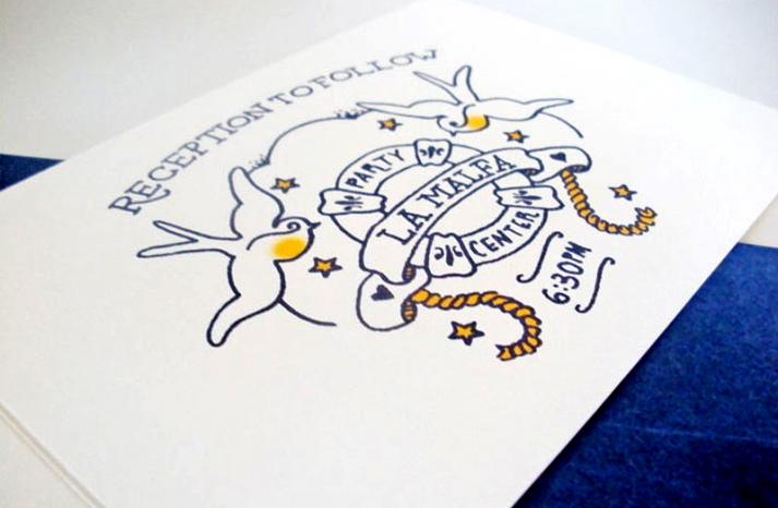 Jessica Jared Sailor Tattoo Wedding Invitations Reception Card