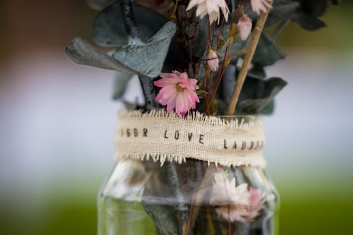 romantic outdoor wedding spring wedding inspiration mason jar centerpieces